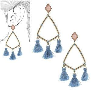 Triangle Tassel Drop Earrings blue